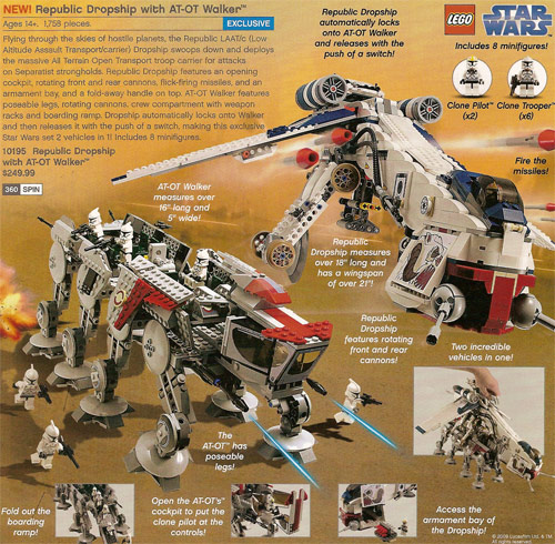Lego Star Wars Republic Dropship with AT-OT Walker. It's not online yet,